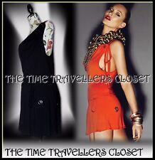 Kate Moss Topshop Black Racer Back Eyelet Lined Jersey Tunic Mini Dress UK 8 10