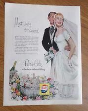 1956 Pepsi Cola Soda Pop Ad      Wedding Bride & Groom