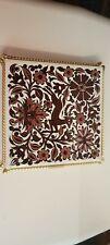 Vintage Icaros Painted Ceramic Tile Brown White Deer