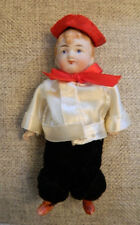 """4.5"""" All Bisque German Antique Boy French Artist Costume Doll Jointed Dollhouse"""