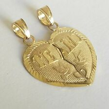 "10k real solid Yellow Gold 2 piece Te Amo Split Heart Pendant Charm .90"" long"