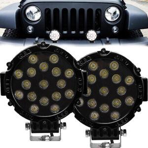 2X 7INCH 51W LED WORK LIGHT SPOT BEAM OFFROAD TRUCK ROUND FOG DRIVING LAMP BLACK