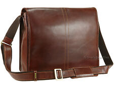 "Visconti Vintage Veg Tanned Leather Messenger 14"" Laptop Work Bag - Aldo VT7 Tan"
