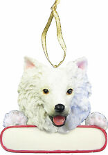 "American Eskimo Ornament ""Santa's Pals"" With Personalizable Name Plate"