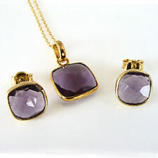 Sterling Silver Gold Vermeil Cushion Cut Amethyst Stud Earring Pendant Set 18""