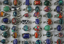 Mix Lots 8pcs Nature stone Multicolor Lady's Silver Plated Charm Ring Free Ship