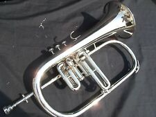FLUGEL HORN MADE OF PURE BRASS IN SILVER CHROME POLISH + CASE+ MOUTHPC+FREE SHIP
