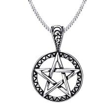 Pentacle Star Pendant Necklace Chain Mens Stainless Steel Wicca Magic Pentagram