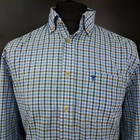 JOOP! Mens Shirt MEDIUM Long Sleeve Blue Regular Fit Check Cotton