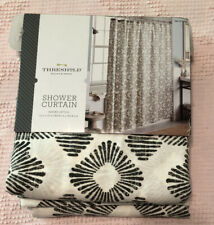 Threshold Gray Ivory Floral Cotton Shower Curtain 72x72 Dashed Lattice NEW