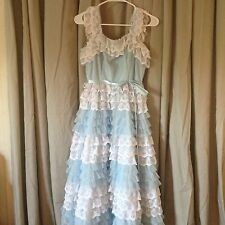 Catherines Vintage Fashion Of Chattanooga Girls Bl/white Pagent Dress Lace Laye