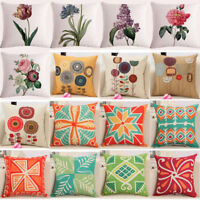 "18""Flower Plant Linen Throw Pillow Case Waist Sofa Car Cushion Cover Home Decor"
