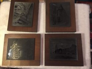 Roscoe Misselhorn Sketches 4pc Metal Art Engraving by Otto Wills / Union Station