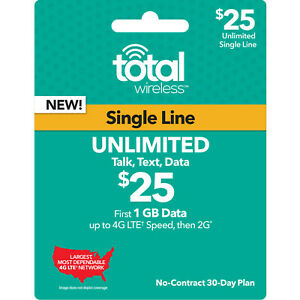 Total Wireless $25/Month Unlimited Talk/Text/data, 1GB 4G LTE, fast & right