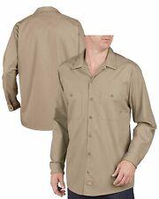 Dickies Work Shirts Men Long Sleeve LL535 Khaki - (Regular Fit)  Size Large