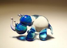 Blown Glass Art Animal Figurine Small Blue and Clear Rhinoceros Rhino