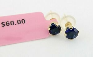 Fine Solid 14K Yellow Gold Round Blue Sapphire Stud Earrings Studs Ret:$60 NWT