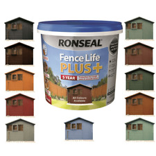 Ronseal Fence Life Plus Garden Shed & Fence Paint 5L- UV Potection - All Colours