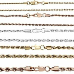 """Rope Chain - Yellow Rose Or White Gold Over Solid Stainless Steel - 2-6mm 18-30"""""""