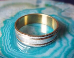 Ring Stainless Steel Silver Matte And Gold Coloured Striped Size 18 And Size 20