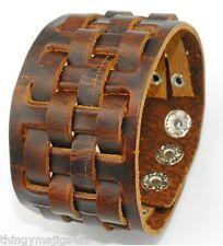 Véritable Cuir Marron Tissage Bracelet Bracelet Bracelet pour homme Cuff Band A50