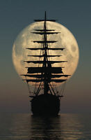 Large Framed Print - Old Ship on the High Seas Sailing in the Moon Light Picture