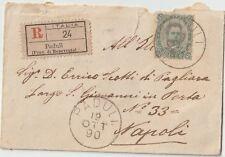 ITALIA 1890 45C ISOLATO SU BIGLIETTO DA VISITA DA PADULI BENEVENTO PER NAPOLI