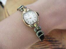 Ladies Vintage Waltham Mechanical Watch gold tone Swiss Serenata Calf leather
