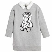 Simonetta Mini Girls GREY SWEAT-SHIRT JERSEY DRESS with Bear 3 years