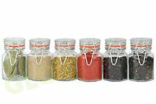 SET 6 GLASS SPICE JARS STORAGE CONTAINER HERBS SPICES JAM PRESERVE KITCHEN POTS