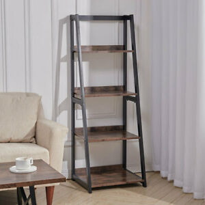 4-Tier Storage Shelves Ladder Bookshelf Industrial Bookcase Metal Flower Stand