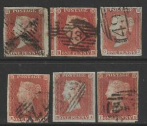 QV 1d Red Imperforate x 6. 1844 type cancellations.