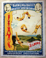 Large Format HiQ Facsimile of 1893 Barnum Bailey Circus Poster~Aerialists 36x28