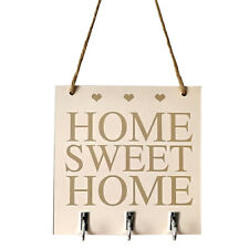CN_ FM- Sweet Home Square Hanging Wood Board Wall Hook Hanger Holder Decoratio