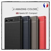 Etui Coque Housse Silicone Fibre Carbone TPU Case cover Sony Xperia XZ1 Compact