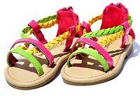 b0c6117796004b Baby Toddler Girl Braided Sandals Back Zip Flip Flop Gladiator Flat Open Toe