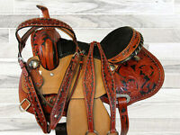 PRO WESTERN SHOW EVENT RACER PLEASURE TRAIL TOOLED LEATHER BARREL SADDLE 15 16