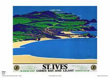 CORNWALL St IVES LAND'S END VINTAGE RAILWAY TRAVEL POSTER RETRO ADVERTISING