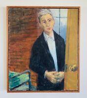 Vintage Original Art Oil on Canvas Portrait of Man (Norman Rockwell?!)No Signed
