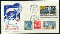 C76 Moon Landing Cachet 1969 Dual Cancel UA FDC with Combos Chickering Jackson