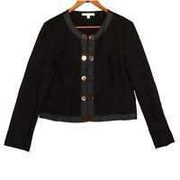 CAbi Women's Black Faux Leather Trim Blazer Jacket - Size Large