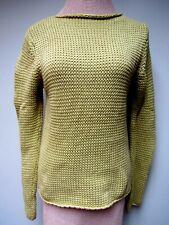 Vtg Jeanne Pierre Cotton Knit Sweater Top Rolled Boat Neck Lemon Green M Euc