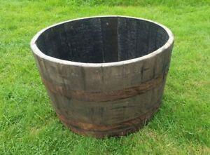 Whiskey Barrel Planter / Tub / Pot - Oak Wooden Garden Feature Rustic FREE P&P