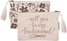 Set of 4 Will You Be My Bridesmaid Gift Makeup Bag Wedding Favor Pink Rose Gold