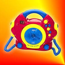 AEG CDK 4229 Kinder Karaoke CD-Player (2 Mikrofone, eingebauter Lautsprecher)