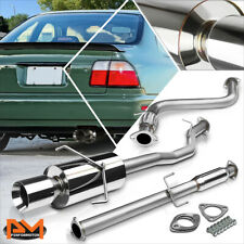 """For 94-97 Honda Accord 2.2L 4""""Rolled Tip Muffler Stainless Steel Catback Exhaust"""
