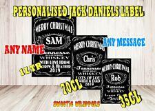 Personalised 1Ltr Bottle Label Jack Daniels Inspired Black Christmas XMAS GIFT