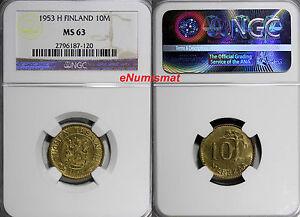 Finland Aluminum-Bronze 1953 10 Markkaa NGC MS63  KM# 38