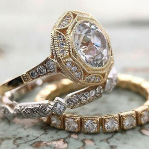 Vintage 18K Gold Wedding Ring for Women Fashion White Sapphire Jewelry Size 11
