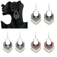 Women's  Tibetan Carved Beads Tassel Dangle Vintage Bohemian Boho Style Earrings